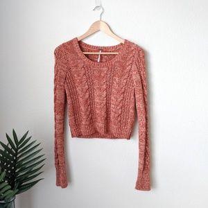 Free People Marled Cropped Sweater Orange Small